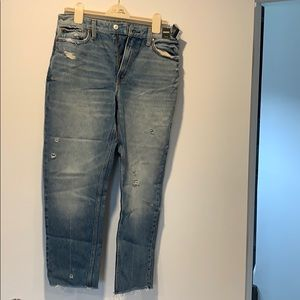 Never worn A&F mom jeans. Distressed.